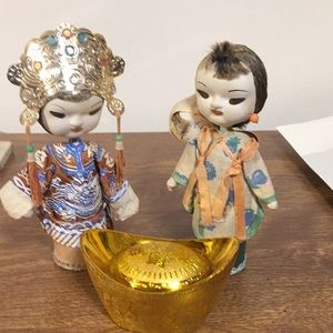 Asian dolls and coin chest decoration collectible